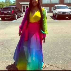 Multicolored wrap around sheer dress